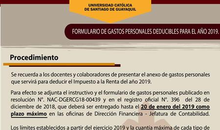 Formulario de Gastos Personales Deducibles para el año 2019
