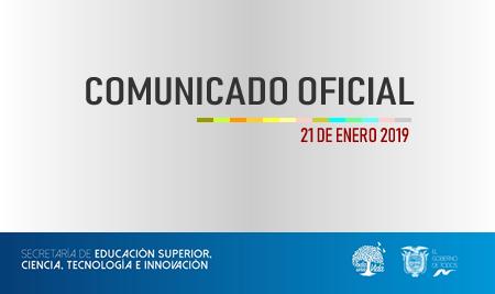 Comunicado Oficial – Senescyt