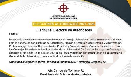 Convocatoria para la elección de Autoridades y Representación Docente del período 2021-2026