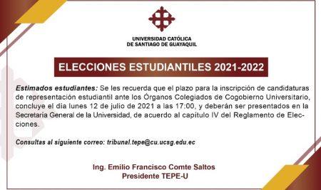 Convocatoria a elecciones Estudiantiles para el Cogobierno Universitario 2021-2022