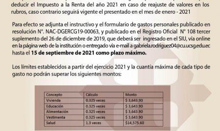 Formulario de Gastos Personales Deducibles 2021